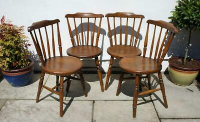 Set 4 late Victorian Penny  Windsor kitchen chairs in Elm & Beech