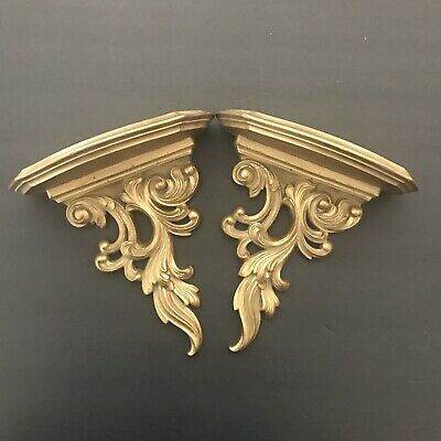 Lovely Pair of Syroco Gold Carved Scroll Wall Shelves Shelf Sconces 8  3/4 inch
