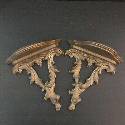 Lovely Pair of Syroco Gold Carved Scroll Wall Shelves Shelf Sconces 10 1/4 inch