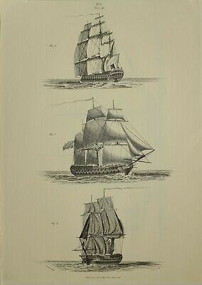 1805 Marine Print Prepare To Sail Frigate Lying By 1979 Facsimile Liber Nauticus