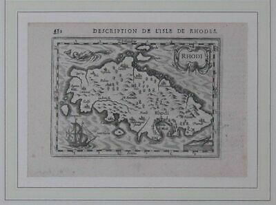""" Description de L'Isle Rhodes "" . Map from : Bertius, Tabularum Geographicarum."