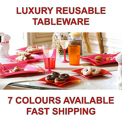 Luxury Reusable Plastic Plates Catering Tableware Party Wedding Restaurant Cafe