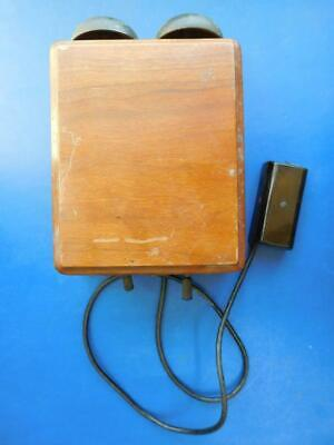 Nice Old Wooden Telephone 2 Line Bell Box in Wooden Case c1900s