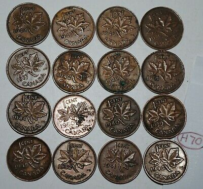 Canada 1937-1952 set George VI 1 Cent 16 Coins Canadian Pennies Lot #H70