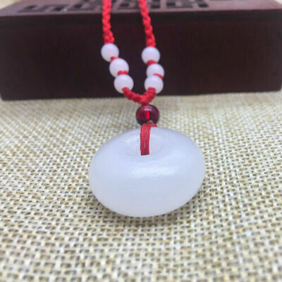 Natural white jade handmade circular safety buckle Necklace Pendant