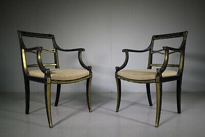 Pair of  Original Painted  Regency Antique Dining Chairs