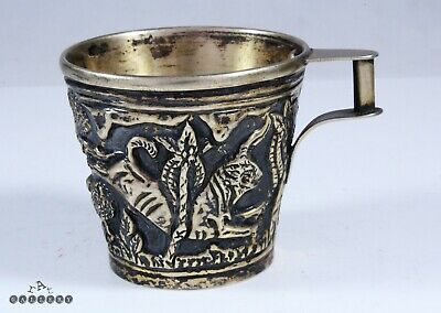 Minoan Greek Solid Sterling Silver Gilt Vaphio Bulls Cup