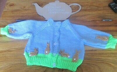 Hand Knitted Spring Bunnies Cardigan. Super Gift Idea. Age 0-3M