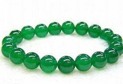 """12mm Real Natural Green Jade Round Beads Bracelet 7.5"""" AAA+"""