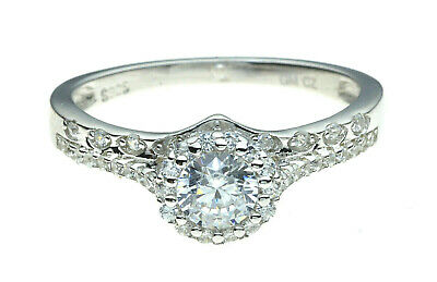 Round Engagement Ring | CZ Crystal Halo with Double Band | 925 Sterling Silver