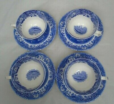Vintage Spode Blue Room 4 Jumbo Cup & Saucer Sets Italian Countryside Elegant