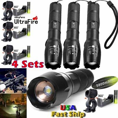 50000LM Ultrafire Flashlight T6 LED Bicycle 18650Car Mount Torch Holder+Charger