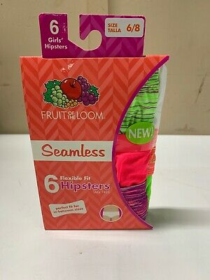 33c85c2457bc Girls Fruit of the Loom 6 Pack Seamless Hipster Panties Underwear Tag Free 6 /8