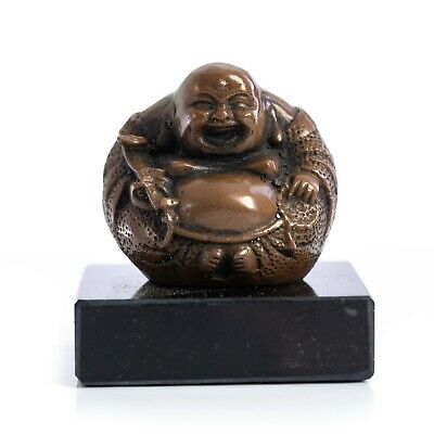 Bronze Tibetan Laughing Buddha on a solid Marble base. Art, Gift, Sculpture.