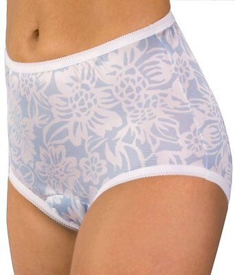 WEAREVER 100% Polyester Blue/White Floral Print Sanitary Brief Plus Size 3XL