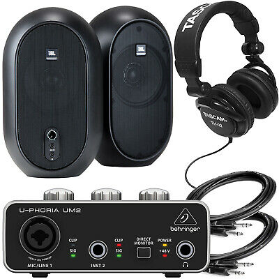 JBL 1 Series 104 Powered Monitors+ BEHRINGER Audio Interface, Tascam Studio HP's