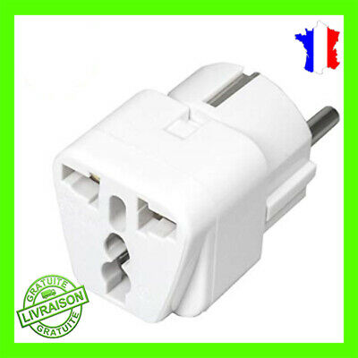 Adaptateur Secteur Prise Chine Americaine US USA vers France Europe FR + terre