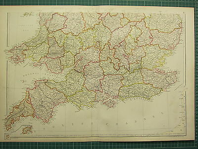 1882 LARGE ANTIQUE MAP ~ ENGLAND & WALES SOUTH SHEET ~ CORNWALL DEVON ESSEX etc