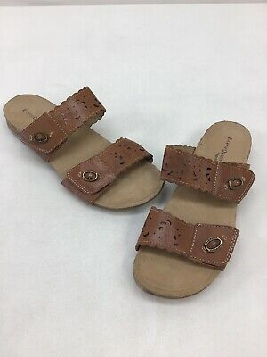 6868949e81 Earth Origins By Earth Tessa Tan Leather Slide Sandals Size 9.5M A1894 OOS