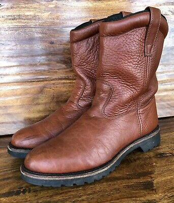 460e6d058a0 MENS H.S. TRASK Bison Leather Roper Boots Brown Size 10.5 M Made In The USA