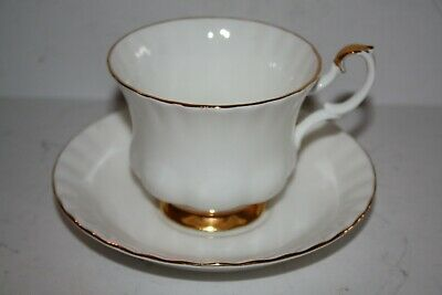 """Royal Albert """"Val Dor"""" White and Gold Teacup and Saucer"""
