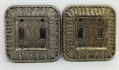 VTG 1968 Amer Tack Ornate Dual Light Switch Plate Covers in Gold & Silver (RF968