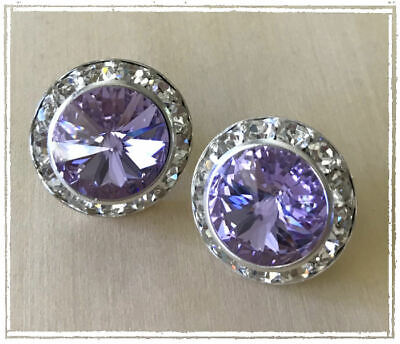 Amazing Swarovski Violet Rivoli Crystal earrings Silver Rhinestone Setting