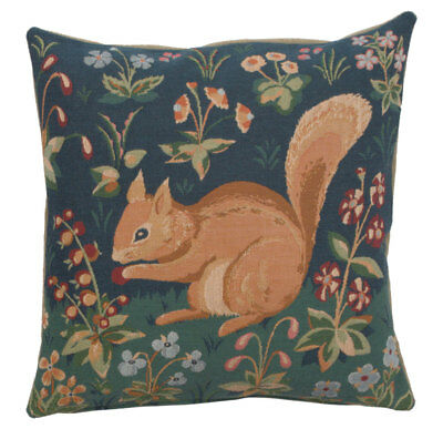 Medieval Squirrel French Tapestry Cushion Pillow Cover Vintage Fine Art Decor