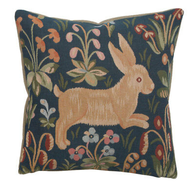 Running Rabbit in Blue French Tapestry Cushion Pillow Cover Vintage Fine Art