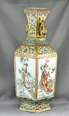 Very Beautiful Vintage Chinese Hand Decorated porcelain Square Vase