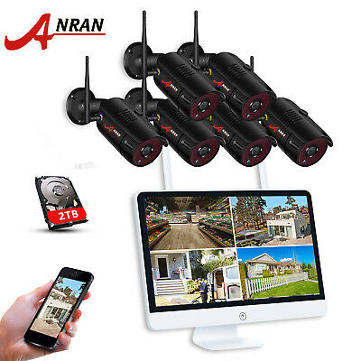 """ANRAN Wireless WIFI 1080P Security Camera Home Outdoor IP System 15""""LCD NVR 2TB"""