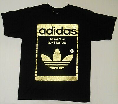ADIDAS Men's TREFOIL LOGO t-shirt Black & Metallic Gold Graphics Medium