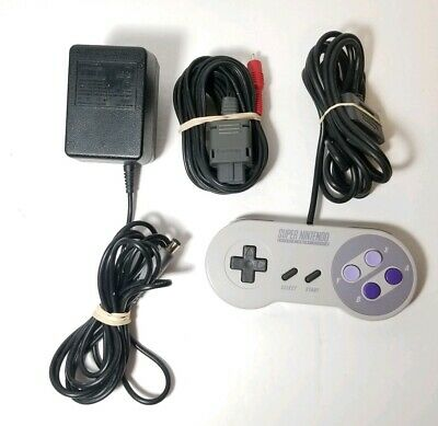 Super Nintendo AC Adapter SNS-002, AV Cable and Controller Tested- Free Shipping