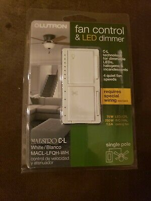 LUTRON MAESTRO FAN Control and Light Dimmer for dimmable LEDs ... on