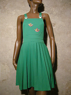 Vintage Chic Dungaree Dress 1970 Vtg Dress 70s Dress 70er Abito Retro (36/38)