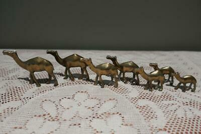Vintage Brass Miniature Camel Family - Graduated sizes - 7 pieces - Vgc