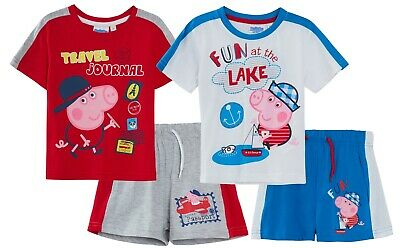 3e01dabe02178 PEPPA PIG GEORGE Pig Boys T-Shirt + Shorts Set Kids Character 2 Piece Outfit
