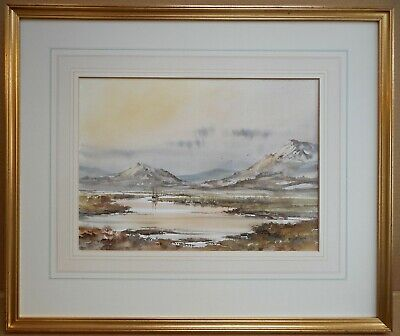 North Wales river valley Winter. Watercolour by listed artist Allan Morgan c2000