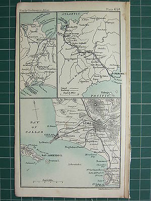 1904 Small Map ~ South America Panama Canal Salina Cruz Lima City Plan Environs