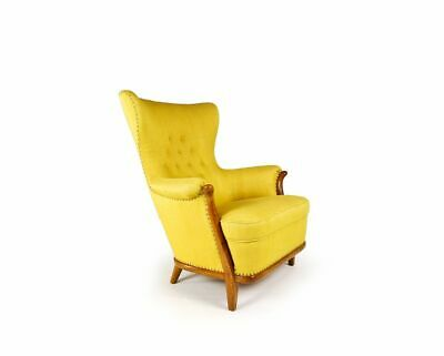 Mid Century Furniture Armchair Walnut Yellow Retro Vintage Hans Wegner Danish