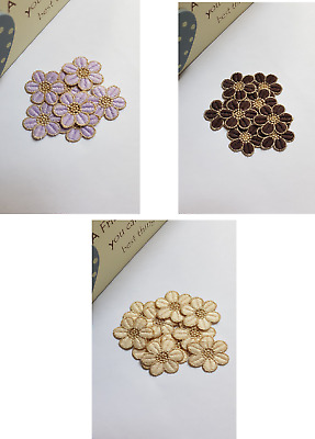 ASSORTED GOLD//CREAM//PURPLE//BROWN LACE GUIPURE MOTIFS SEW ON FLOWER APPLIQUES