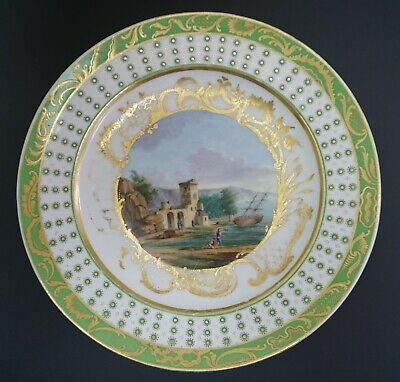 18th Cent French Sevres Soft Paste Porcelain Green Painted Harbor Scenic Plate