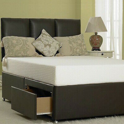 MEMORY LEATHER DIVAN BED WITH MATTRESS & HEADBOARD 3FT 4FT6 Double 5FT KING 6FT