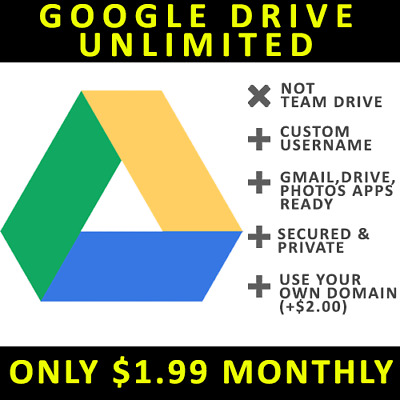 Google Drive Unlimited Storage Monthly G Suite (Not Team Drive)