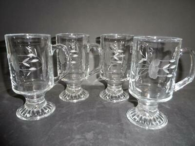 Glass Flower Etched 4 X Latte / Coffee Mugs