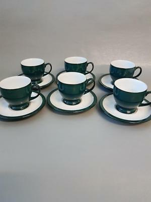Denby Greenwich 6 X Cups And Saucers