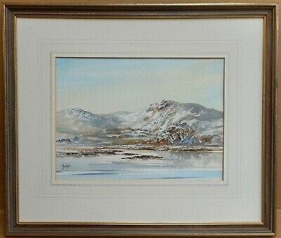Winter in Snowdonia. Watercolour by listed Welsh artist Allan Morgan c2000