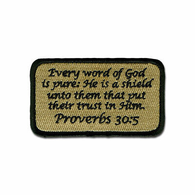 Tactical Combat Military Hat Morale Patch Badge Hook & Loop - Proverbs 30:5 ACU