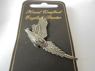 Hand Crafted English Pewter Rising Pheasant Pin Badge Signed A R Brown  Bird Pin