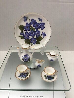 10pc Vintage Miniature Tea Set White W Blue Flowers Mini Porcelain Fairy Garden